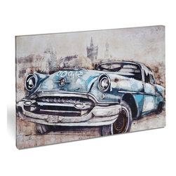 "Vertuu Design - 'Vintage Car in Blue' Artwork - Get a cool, retro vibe in your home with the ""Vintage Car in Blue"" Artwork. This giclee printed canvas features a neutral city street background that offsets the car's hand-painted blue and white embellishments. Display it in a bedroom or office for a bold, bright look."