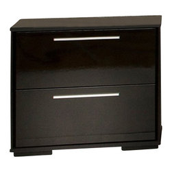 South Shore - South Shore Mikka Contemporary Style Night Stand in Black Oak - South Shore - Nightstands - 3541060 - This Mikka 2-Drawer Nightstand in Black Oak offers a chic and modern looking style with its clean and straight lines. It features 2 practical drawer equipped with metal slides and elegant aluminum handles. In addition its front drawers stand out with a luxurious black lacquer finish. Pair it with the rest of the Mikka Collection to add a bit of glamour to your Master Bedroom.  ts rich black oak finish and black lacquer-finish drawer fronts can be used to create a romantic glamorous ambiance. Who says luxury is unaffordable? The interior drawer dimensions are: 19-inch wide by 14-1/4-inch front to back by 6-1/4-inch high. It is delivered in a box measuring 28-inch by 17-1/2-inch by 6-3/4-inch and weighing 48 pounds. New and improved drawer bottom made with wood fibers. The back surface is not laminated. Accessories not included. Manufactured from certified Environmentally Preferred laminated particle panels. Complete assembly required by 2 adults. Tools are not included.  5-year limited warranty.