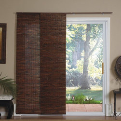 Radiance - Radiance Panel Track Bamboo Blind in Java Mahogany - Bring an exotic look to any room while maintaining the insulating qualities of a natural product. The Bamboo Panel Track is the ideal solution for sliding doors, extra-large windows, picture windows, or as an inexpensive room divider. The track insures the panels stay in place, moving in unison without risk of damage due to swinging. Features: -Blind. -Java mahogany color. -Perfect for large windows, patio doors, or as a room divider. -Wand control; panels stack neatly when not in use. -Light filtering and energy efficient. -Mounts easily; four panels and all hardware included.