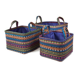 """Traders and Company - Colorful Nested Square Fabric Baskets, Set of 3 - Lg = 12.5""""x12.5""""x9""""H - Fjord - Wake up any room with our colorful nested fabric hampers and baskets. Studry metal frame maintains the opening shape, and bright geometric patterns add a flash of color. Great for everyday storage around the home or in the kids room. Other patterns and shapes sold separately. Dimensions: L - 12.5""""L x 12.5""""W x 9""""H, M - 11""""L x 11""""W x 8""""H, S - 9.5""""L x 9.5W x 7.25""""H"""