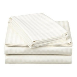 """650 Thread Count Egyptian Cotton Cal. King Ivory Stripe Sheet Set - Our 650 Thread Count Sheet Set offers high thread count durability with premium softness. They are composed of long-staple cotton and have a """"Sateen"""" finish as they are woven to display a lustrous sheen that resembles satin. Set includes One Flat 110x104, One Fitted 74x84, and Two Pillowcases 21x42 each."""