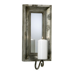 Cyan Design - Cyan Design Abelle Candle Mirror Sconce X-10720 - A heavily beveled frame has been paired with distressing for an elegant aged look to this Cyan Design mirrored sconce. From the Abelle Collection, this beautiful piece of wall decor features mirrored glass and a stunning Estruscan Slate finish, giving it a versatile look for any room's color palette.