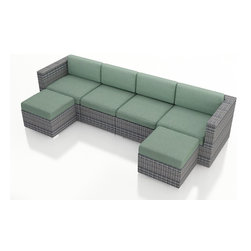 Harmonia Living - Urbana 6 Piece Wicker Sectional Set, Weathered Stone Wicker, Spa Cushions - The incredibly versatile Harmonia Living Urbana 6 Piece Modern Patio Wicker Sectional Sofa Set with Turquoise Sunbrella cushions (SKU HL-URBNWS-6SECT-SP) is designed to be arranged in dozens of configurations. This patio sectional set is a practical choice for those who love to entertain outdoors. The brushed aluminum feet and bold clean lines on each furniture piece give this set a modern look. The resin wicker has a rich textured look that rivals natural rattan wicker while being significantly more durable. Its durable, reinforced aluminum frames and fade-resistant High-Density Polyethylene (HDPE) wicker keep this set looking great for years and years. Few modern patio sectional sofa sets offer this level of quality and design at such an affordable price.