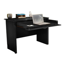 South Shore - South Shore Secretary Desk in Solid Black Finish - South Shore - Secretary Desks - 7070795 - The South Shore Secretary Desk has simple yet refined detailsand is ideal for laptop computers and small desktop computers. Thestorage drawer has a drop-down front that can be used as a keyboardtray. The drawer has a satin zinc finished metal handle and metalslides for smooth gliding. Add contemporary charm to any room in yourhome with the South Shore Secretary Desk.Features: