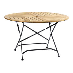"""Ballard Designs - Giardino 48"""" Round Dining Table - Folds for easy set-up & storage. X-stretchers & subtle twist details. Alternating slats encourage drainage. Can be paired with Giardino Side or Arm chairs, seats up to 4. Use of an outdoor furniture cover is recommended to extend the life of your piece. Our teak Giardino 48"""" Round Dining Table has the look and surprising comfort of those charming caf&#233 tables and chairs you see dotting the sidewalks of Europe. Frames are crafted of rust-resistant, powder-coated iron and fitted with thick slats of naturally weather-resistant and insect-resistant teak. If left untreated, teak finish will develop into a warm silvery gray patina over time. Table accommodates a 2"""" diameter umbrella. Includes matching cap for the umbrella opening. Giardino Round Dining Table features:. . . . ."""