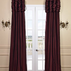 Ruched Merlot Thai Silk Curtain - We've taken our popular Thai Silk panels and added a ruched header valance creating the most luxurious, over the top style in window treatments out there. This style was designed and meant to be stationary and used as decorative panels to frame out your window.