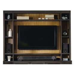 Hooker - Hooke South Park Entertainment Console Hutch - This simple Entertainment Console Hutch offers even more storage space, with two fixed shelves and one adjustable shelf on each side, and one shelf above the TV space, providing you with small compartments to display decorative trinkets. Finished in an earthy brown color, with space to fit most 55-inch televisions, this hutch with the matching entertainment console introduces sophisticated style and storage into your living room or entertainment area.
