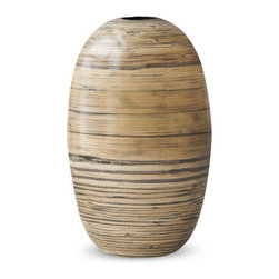 18KARAT - Blackwash Bolba Vase - Playful bamboo vases and balls of the Bolba collection are hand-made in many steps starting by slicing bamboo into long strips, gluing each piece into a form and then repeated sanding. The final step is a glossy enamel finish. The final result are lightweight decor pieces that look great shown in multiples in a variety of finishes.