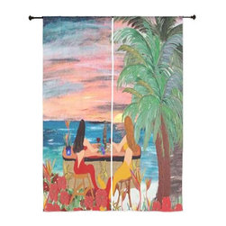 "xmarc - Mermaid Art Sheer Curtains, 30"" X 84"", Wine Bar Beach Mermaids - The windows have it with these sheer, beach decorative curtains. Romantic and flowing, these elegant chiffon window treatments finish a room with the perfect statement."