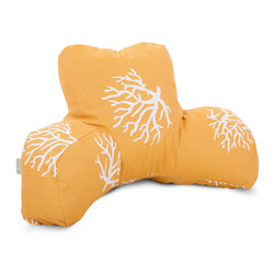 Majestic Home - Outdoor Yellow Coral Reading Pillow - Enjoy that poolside page-turner even more with this reader pillow. It's got your back while you plumb the plot, and with UV protection built into the fabric, this indoor/outdoor piece will stand up to the weather for many seasons to come.