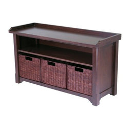 Winsome Wood - Bench with Storage Shelf, 3 Small Baskets and 2 Cartons - Our Bench with Storage Shelf is elegant and versatile, this hall bench and baskets is perfect for entry way or mud room. This wired baskets are sturdy construction and bench is made of solid wood finish in antique walnut stain.
