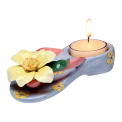 ATD - 5.5 Inch Narcissus Flower Design Light Blue Sandal Tealight Holder - This gorgeous 5.5 Inch Narcissus Flower Design Light Blue Sandal Tealight Holder has the finest details and highest quality you will find anywhere! 5.5 Inch Narcissus Flower Design Light Blue Sandal Tealight Holder is truly remarkable.