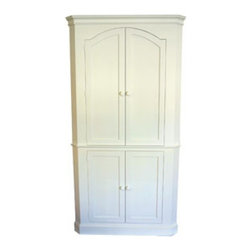 Carolina Corner Cupboard - Coastal cottage style furniture from Seabrook Classics is made in the USA and customizable to fit your style.  Ships free curbside to the US.  Contact us if you would like to add white glove delivery for a surcharge.
