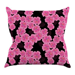 """Kess InHouse - Julia Grifol """"Pink on Black"""" Throw Pillow (16"""" x 16"""") - Rest among the art you love. Transform your hang out room into a hip gallery, that's also comfortable. With this pillow you can create an environment that reflects your unique style. It's amazing what a throw pillow can do to complete a room. (Kess InHouse is not responsible for pillow fighting that may occur as the result of creative stimulation)."""