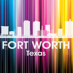 Fort Worth TX  Vertical Lined Rainbow Print - Fond of Fort Worth? Then flaunt it in your decor. Digital and photographic layering go into this white-on-wow print representing your favorite city's skyline — what a fun way to pay tribute to your town!