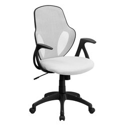 """Flash Furniture - Mid-Back Executive White Mesh Chair with Nylon Base - This ergonomically correct chair will give you the support that you need to complete a day's work. The contoured lumbar support along with the curved design of this chair makes it very appealing. This chair will make the perfect addition to spruce up your office space. Mid-Back Mesh Swivel Chair; White Mesh Back; Padded Mesh Upholstered Seat; Built-In Lumbar Support; Tilt Lock Mechanism; Tilt Tension Adjustment Knob; Pneumatic Seat Height Adjustment; Curved Nylon Arms; Heavy Duty Nylon Base; Dual Wheel Casters; CA117 Fire Retardant Foam; Overall dimensions: 25""""W x 26""""D x 38"""" - 41.75""""H"""