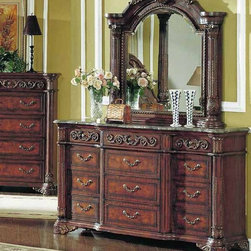 Yuan Tai Furniture - Kamella Dresser and Mirror - KA7607DR-M - Set includes Dresser and Mirror