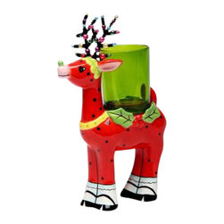 ATD - 5.75 Inch Red Polka Dot Reindeer with Green Glass Votive Candle Holder - This gorgeous 5.75 Inch Red Polka Dot Reindeer with Green Glass Votive Candle Holder has the finest details and highest quality you will find anywhere! 5.75 Inch Red Polka Dot Reindeer with Green Glass Votive Candle Holder is truly remarkable.