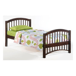 Night & Day Furniture - Molasses Twin Bed in Chocolate - Bed includes head/foot, rails, slats. 100% Malaysian Rubberwood construction. Warranty: 5 years. Chocolate finish. 57 in. W x 80.6 in. D x 38.8 in. H (32.6 lbs.)Molasses. A good name for: The speed at which our kids get themselves into bed. Also works for: The speed at which our kids get themselves out of bed. And: That sweet, droopy feeling we get when sleep is pulling us down down down. About as good a name for a sleepy-time bed as we could think of.Take care of your kids' needs for beds, bunks and storage with our Zest Bedroom Collection for Night and Day. Smart quality at extraordinary value. We have gone to great lengths to design and engineer this complete line to keep your cost down and your pleasure up.