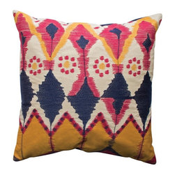 Koko Company Java Modern Decorative Pillow - Ikat prints can add a lot of color and personality. Throw pillows allow you to determine just how much or how little of this colorful print to use.