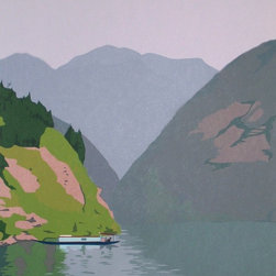 """""""On the Yangtze River"""" Artwork - Mountains in the mist along the Yangtze River, China. The dimensions above are the sheet size; the image is 20"""" x 15""""."""