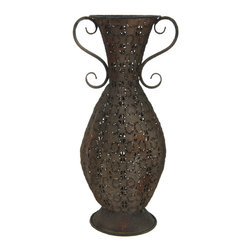 Oriental Furniture - Wrought Iron Decorative Handle Vase - Lightweight and weather resistant, this lovely wrought iron vase looks beautiful in the garden or at home. Finished with a rich rust veneer, this decorative vase is an eye-catching centerpiece that will bring an antique accent to your personal sanctuary.