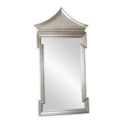 Kathy Kuo Home - Governors Palace Hollywood Regency Antique Silver Leaf Floor Mirror - Inspired by the Chinoiserie door surround in the Supper Room of the Governor's Palace in Williamsburg, Virginia, this oversized, opulent mirror transforms your space into a palace. Hand-applied, antique silver leaf shimmers around the frame of the beveled, clear glass mirror, reflecting an air of royalty from floor to ceiling.