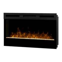 Dimplex - Dimplex Wickson Wall-Mount Fireplace - Dimplex - Electric Fireplaces - BLF34 - The sizing of this linear electric fireplace makes it a perfect fi t for any room. Ambiance warmth and snug to the wall fi t make this unit a must have for the most discerning consumer or designer. The LED flame meanders from the middle of the crushed glass ember bed giving the unit an impressive effect.