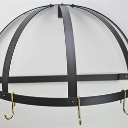 Rogar - Gourmet Half Dome Pot Rack - Wall mounted pot rack. Made from steel. Half round shape. Black color. 22.25 in. L x 11 in. D x 12 in. H (6 lbs.). Includes mounting hardware. Five J shape brass hooks. No assembly required. Without grid. Powder coated and black steel. Used in smaller kitchen