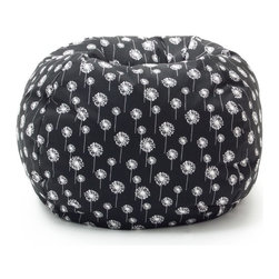 Comfort Research - Comfort Research Medium Twill Bean Bag Chair - Black with Small White Dandelions - Shop for Beanbags from Hayneedle.com! Update your living space with the stylish comfort of Comfort Research Medium Twill Bean Bag Chair - Black with Small White Dandelions. Upholstered in durable twill this comfy bean bag is filled with UltimaX beans that conform to you. Double zippers and a double-stitched design add strength and safety to this chair. Featuring white dandelions over a black background this cozy bean bag chair adds a touch of contemporary style to your decor.About Comfort ResearchComfort Research is famed for having created the Fuf chair an innovative update on the classic bean bag chair filled with a comfy material known as Fuf foam. This special blend of foam never goes flat for long-lasting comfort. Based in Grand Rapids Michigan Comfort Research has recently developed several new lines of creative inventive chairs. They've addressed the needs of eco-friendly consumers by creating incredibly comfortable green chairs; one style is made with buckwheat filling and organic cotton the other uses recycled polystyrene filling and a special fabric made from recycled soda bottles. No matter which style or shape of chair you choose you can be sure your Comfort Research product will look great and stay comfortable for years to come.