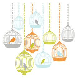 WallPops - St Tropez Wall Art Decal Kit - This collection of vintage birdcages is each home to a different bird in a fresh palette of chartreuse, sky, tangerine, and pewter. Make your Decor sing with this charming wall art, bursting with a bohemian style flourish.