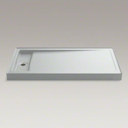 """KOHLER - KOHLER Bellwether(R) 60"""" x 34"""" single-threshold shower base with left center dra - The Bellwether 60"""" x 34"""" shower base features KOHLER enameled cast iron construction for unmatched durability and ease of maintenance. The left centered drain is ideally designed for new construction. Add a removable cover over the recessed drain for a finished look."""