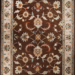 Handtufted Oriental Persian Area Rug Pure Wool Brown Floral Carpet - A beautiful  oriental hand Tufted carpet.