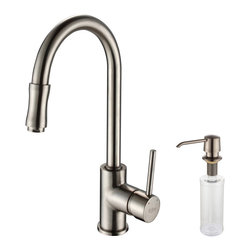 Kraus - Kraus Single Lever Pull Out Kitchen Faucet and Soap Dispenser Satin Nickel - *Update the look of your kitchen with this multi-functional Kraus pull-out faucet