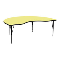 Flash Furniture - Flash Furniture Accent Table X-GG-P-T-LEY-YNDIK-6984A-UX - Flash Furniture's Pre-School XU-A4896-KIDNY-YEL-T-P-GG warp resistant thermal fused laminate kidney activity table features a 1.125'' top and a thermal fused laminate work surface. This Kidney Shaped Laminate activity table provides a durable work surface that is versatile enough for everything from computers to projects or group lessons. Sturdy steel legs adjust from 16.125'' - 25.125'' high and have a brilliant chrome finish. The 1.125'' thick particle board top also incorporates a protective underside backing sheet to prevent moisture absorption and warping. T-mold edge banding provides a durable and attractive edging enhancement that is certain to withstand the rigors of any classroom environment. Glides prevent wobbling and will keep your work surface level. This model is featured in a beautiful Yellow finish that will enhance the beauty of any school setting. [XU-A4896-KIDNY-YEL-T-P-GG]