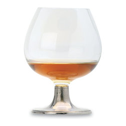 "Match - Match Cognac Glass- set of two - Beautiful for after dinner spirits, clear crystal pairs delicately with a rich pewter stemmed base. Measures 5.5""h."