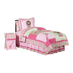 Sweet Jojo Designs - Jungle Friends Children's Bedding Set - The Jungle Friends Children's Bedding Set by Sweet Jojo Designs will help you create an incredible room for your child. This girl bedding set features detailed monkey, lion, giraffe and elephant jungle themed appliques and embroidery works. This collection uses the stylish colors of pink, green and white. The design uses 100% cotton fabrics combined with micro suede, and plush minky dot fabrics that are machine washable for easy care. This wonderful set is available in a twin and full/queen size.