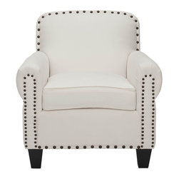 Safavieh Furniture - Riley 29.5 in. Deep Club Chair - Deep seating. Get cozy in tufted confines. Antiqued nail head accents. Made from wood. White cotton upholstery. Assembly required. 33.9 in. W x 29.5 in. D x 32.3 in. H (41 lbs.)Watch the world go by outside your window.