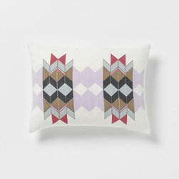 Alyson Fox Chevron Pillow Cover - This is a cool geometric pattern in pastels and red. I'd love to design a playroom around this pillow.