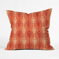 Rustic Arrow Throw Pillow - A palette of orange, red and tan give this arrow pillow a more rustic, earthy feel. Because it's more subdued in tone, this pillow is great as a set of multiples. Or go for one to add to your mix.