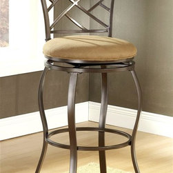 Hillsdale - Hanover Swivel Bar Stool w Upholstered Seat - Graceful curved legs that anchor a metal foot ring and a geometric inspired lattice back give this metal swivel bar stool a striking allure that will be a dramatic addition to any home's decor. The stool is finished in brown powder coat and features a round beige upholstered swivel seat. For residential use. SPECIAL PRICING WHEN YOU BUY 4 click here for details. Delicate lattice backed design. Curved legs with foot ring. Brown powder coat finish. Upholstered Seat. Swivel Seat. Bar Height: 21.5 in. W x 21.5 in. D x 43.5 in. H, Seat Height: 30 in. H