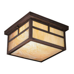 Kichler 2-Light Outdoor Fixture - Canyon View Exterior - Two Light Outdoor Fixture. The la mesa collection proves that simple design can be just as elegant and sophisticated as larger, more elaborate fixtures. Each fixture utilizes a classic lantern shape. Our canyon view finish and honey opalescent glass panels, add instant beauty and ambiance to any room, making the la mesa collection a family of outdoor fixtures that deserves your attention. This 2-light outdoor flush mount ceiling lantern is the perfect accent to your porch or veranda while maintaining a low profile. It uses 75-watt bulbs, is 6. 5 high and is UL listed for damp location.