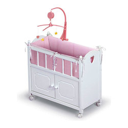 "Badger Basket - Doll Crib With Cabinet, Mobile And Bedding - This deluxe Doll Crib and Bed is the perfect place your doll at bedtime. It features roomy storage cabinet to keep all her things organized and in one place, plus a real working wind-up mobile that slowly rotates to soothe your baby doll to sleep. Bed also comes with a complete bedding set, including bumper, mattress, blanket and pillow. Crib is made of wood and wood composites, with machine-washable poly/cotton fabric bedding. All paints and finishes are non-toxic. Smooth-rolling casters allow the crib to be moved from room to room during play. For use with dolls up to 22"" (not included). Adult assembly required. Illustrated instructions included. Item is for dolls only and is never to be used with real infants or pets. Manufacturer: Badger Basket. Brand: Badger Basket. Part Number: 01721. UPC: 46605717219"