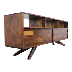 Jeremiah Collection - Divisadero Media/Record Console Sideboard, 84 L X 29 H X 16 D - This console includes mixed walnut sliding panel doors and our exclusive Divisadero Legs. These mixed walnut panel sliding doors, fitted with classic midcentury cone style knobs, are laid in a smooth sanded groove for easy open and closing.