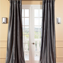 EFF - Solid Faux Silk Taffeta Graphite Curtain Panel - These beautifully refined curtains bring a regal touch to picture windows and French doors. Carefully crafted in faux-silk taffeta for a subtle shine,these gunmetal gray curtains are the perfect statement piece for your home.