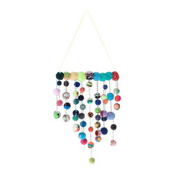 Dana Haim, LLC - Multicolor Speckle Talisman Mobile - One of a kind pom-pom mobile made with colorful hand made pom-poms and beads. The pom-poms are strung and beaded together as garlands, which are then assembled on to a brass bar.