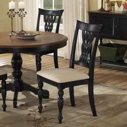 Hillsdale Embassy Side Chair with Carved Legs - Set of 2 - Rubbed Black - Elegant and handsome this Set of 2 Embassy Side Chair with Carved Legs in Rubbed Black makes a classic yet distinctive accent in your dining area. These chairs are sturdily crafted with high-quality hardwoods. Each features a traditional design with eye-catching design details like intricately carved front legs arrow feet and a woven laced back. The lightly distressed rubbed black finish of the chair adds depth and warmth and contrasts nicely with the cream-colored seat. The upholstery is a 55-percent cotton 45-percent polyester blend making it both breathable and durable. Measures 23W x 19.25D x 40H inches About Hillsdale FurnitureLocated in Louisville Ky. Hillsdale Furniture is a leader in top-quality affordable bedroom furniture. Since 1994 Hillsdale has combined the talents of nationally recognized designers and globally accredited factories to bring you furniture styling and design from around the globe. Hillsdale combines the best in finishes materials and designs to bring both beauty and value with every piece. The combination of top-quality metal wood stone and leather has given Hillsdale the reputation for leading-edge styling and concepts.