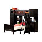 """Acme - Black Finish Wood Loft Bunk Bed Set with Desk and Drawers and Lower Twin Bed - Black finish wood loft bunk bed set with desk and drawers and lower twin bed, This set features 2 twin beds with one on top with rails, a desk area on the end and shelves and drawers on the opposite side. Loft bunk measures 82"""" L x 42"""" W x 67"""" H, Desk Unit measures 43"""" W x 18"""" D x 48"""" H , shelf unit measures 43"""" W x 18"""" D x 48"""" H, Twin bed on bottom measures 82"""" L x 42"""" W x 24"""" H. Also available without the lower bed. Also available in white. Some assembly required."""