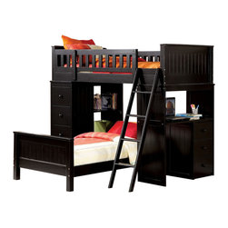 "Acme - Black Finish Wood Loft Bunk Bed Set with Desk and Drawers and Lower Twin Bed - Black finish wood loft bunk bed set with desk and drawers and lower twin bed, This set features 2 twin beds with one on top with rails, a desk area on the end and shelves and drawers on the opposite side. Loft bunk measures 82"" L x 42"" W x 67"" H, Desk Unit measures 43"" W x 18"" D x 48"" H , shelf unit measures 43"" W x 18"" D x 48"" H, Twin bed on bottom measures 82"" L x 42"" W x 24"" H. Also available without the lower bed. Also available in white. Some assembly required."