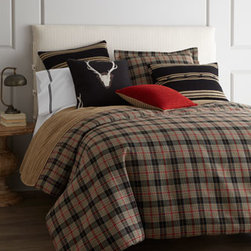 "Daniel Stuart Studio - Daniel Stuart Studio Twin Plaid Duvet Cover, 70"" x 98"" - Chester bed linens are a handsome mix of plaid, stripes, and pleated knit in a palette of camel, black, and red. From Daniel Stuart Studio. Plaid linens are cotton/polyester. Duvet covers have a camel cotton reverse. Antler pillow is cotton/polyester. Pleated knit blankets, striped knit Europe"